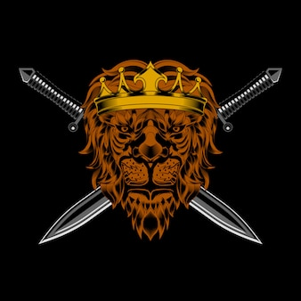 Lion king head and sword vector
