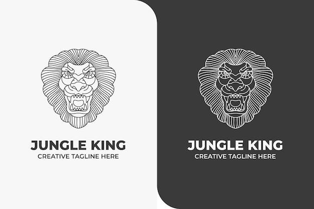 ライオンキングジャングル動物モノラインロゴ