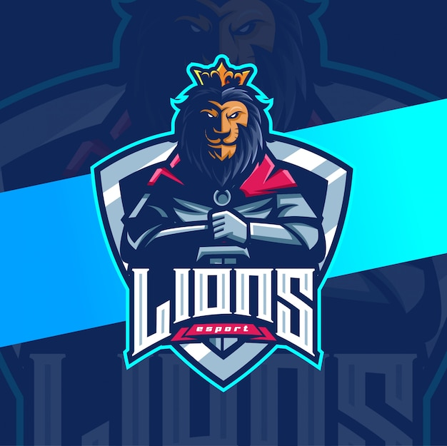 Король лев рыцарь талисман киберспорт дизайн логотипа
