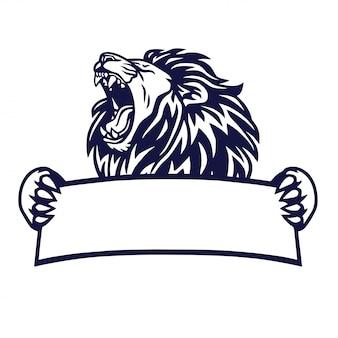 Lion king logo banner emblem vector