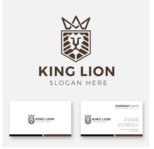Lion king logo and business card Premium Vector