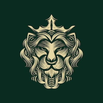 Lion king logo design isolated on green