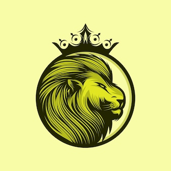 Lion king logo design isolated on yellow