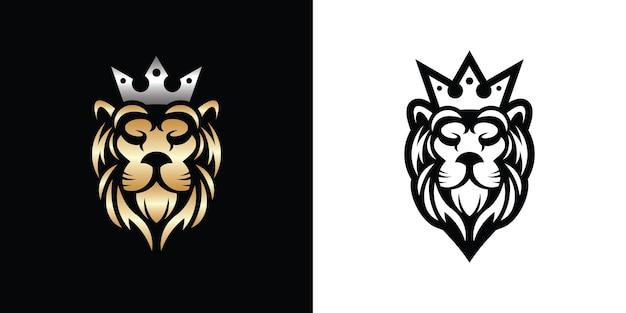 Шаблон дизайна логотипа король лев