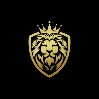 Lion king logo design vector template