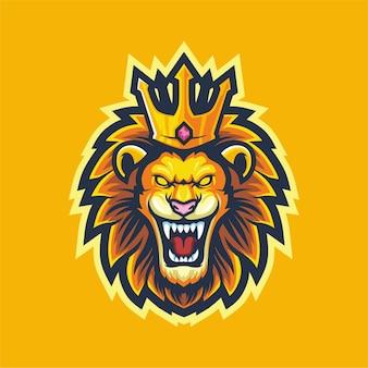 Лев король логотип киберспорт игровой талисман дизайн
