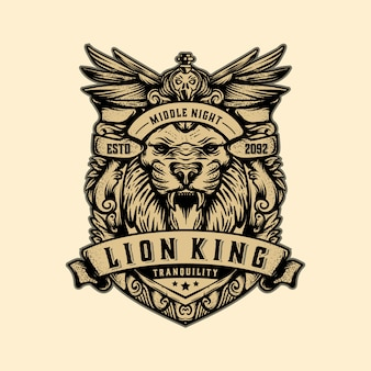 Lion king logo template vintage vector