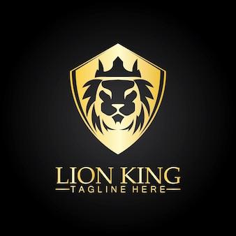 Lion king  logo vector illustration design.gold  lion king head sign concept isolated black background