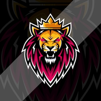 Lion king mascot logo esports design template