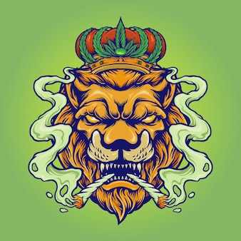 Lion king smoke weed mascot vector illustrations for your work logo, mascot merchandise t-shirt, stickers and label designs, poster, greeting cards advertising business company or brands.