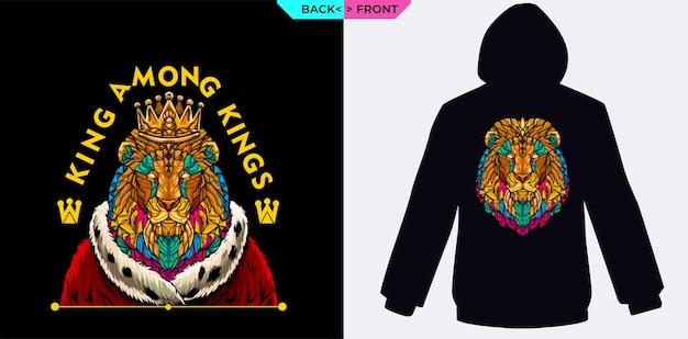 ライオンの王は、スクリーン印刷のパーカーに適した王室の服と一緒に黄金の冠を着ています