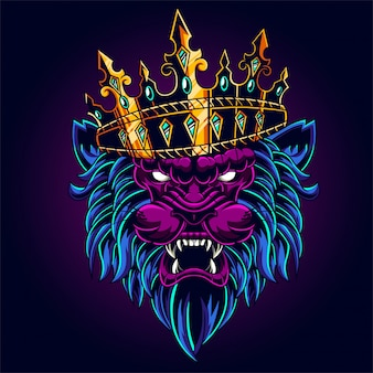 Lion king with crown illustration