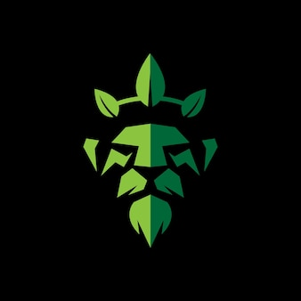 Lion king with leaves crown design logo template