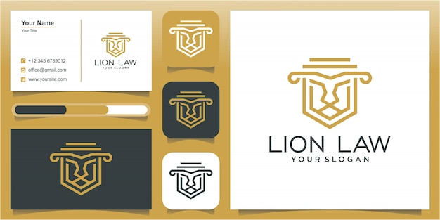 Lion law abstract with pillar logo amazing design for your company or brand.