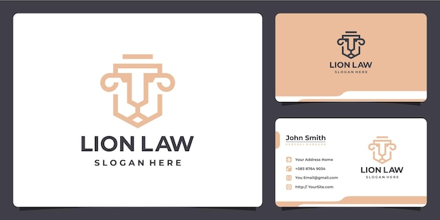 Lion law firm luxury logo design and business card