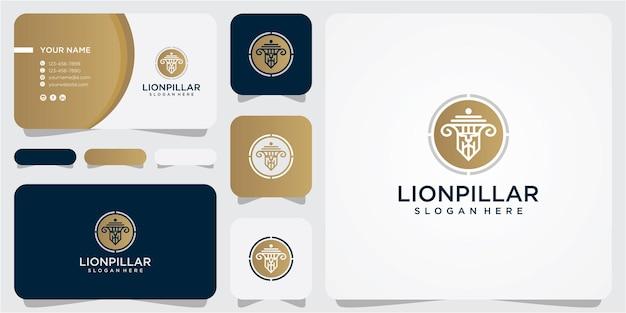 사자 법률 기둥 로고 디자인 컨셉입니다. 사자 법률 로고 디자인 템플릿입니다. 사자 기둥 로고 디자인