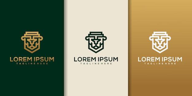 Lion law with pillar logo design inspiration.