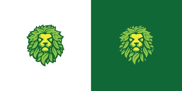 Lion and leaf logo design premium vector