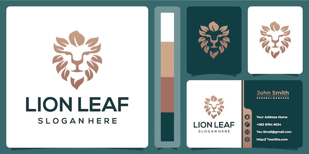 Lion leaf logo design with business card template