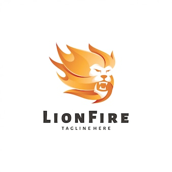 Lion leo and fire flame logo