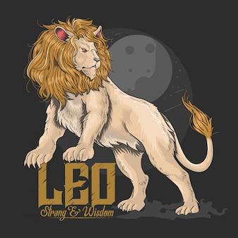 ライオンレオの強みと知恵 Premiumベクター