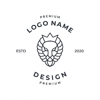 Lion logo concept with line art style.