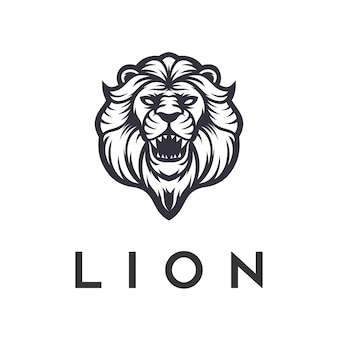Lion logo design angry vector template