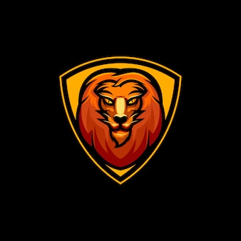 Lion logo design with shield for esport team