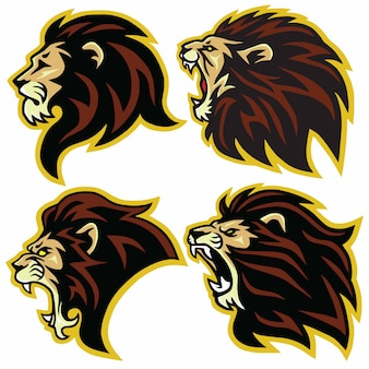 Lion logo mascot collection premium set vector