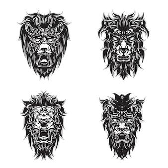 ライオンのロゴセットプレミアムデザインベクトル