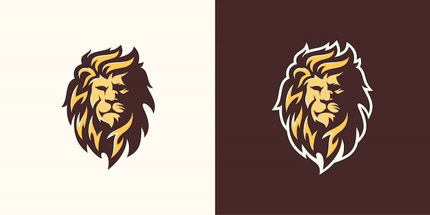 Lion logo template line art illustration
