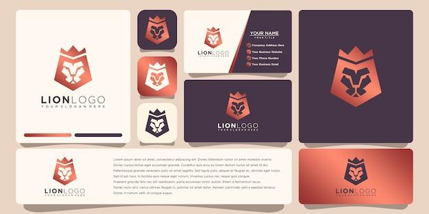 Лев логотип с дизайном шаблона визитной карточки