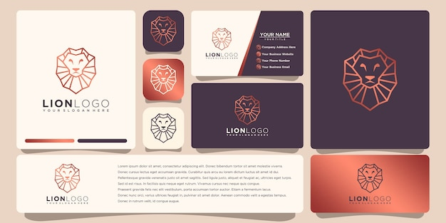 Lion logo with business card template   design