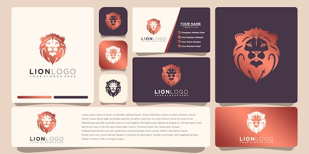 Lion logo with business card template