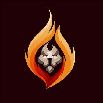 Лев логотип с концепцией огня