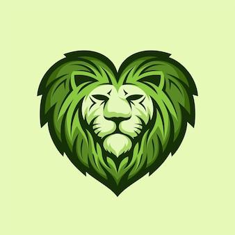 愛の概念を持つライオンのロゴ