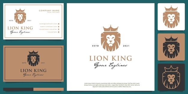 Lion logo with a simple minimalist and luxurious style