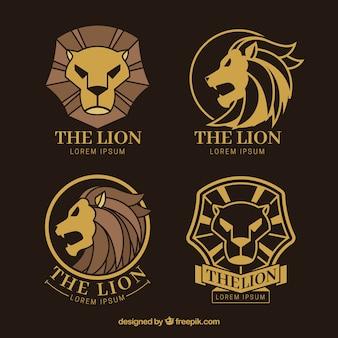 Lion logos, golden color