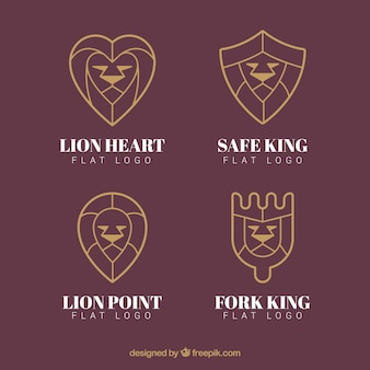 Lion logos, linear style