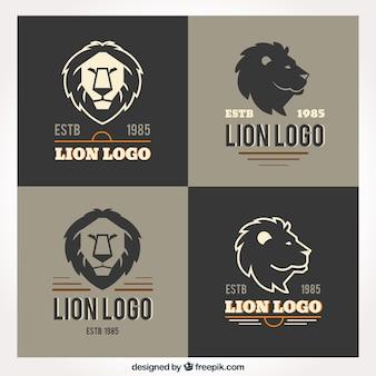 Lion logos, retro style