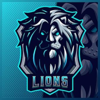 ライオンマスコットeスポーツロゴデザインイラストベクトルテンプレート、チームゲームストリーマーyoutuberバナーけいれん不和のためのグリーンライオンロゴ