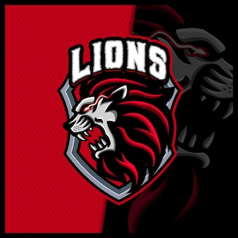 Лев талисман киберспорт логотип дизайн иллюстрации вектор шаблон, логотип тигра для командной игры стример youtuber баннер twitch раздор, полноцветный мультяшный стиль