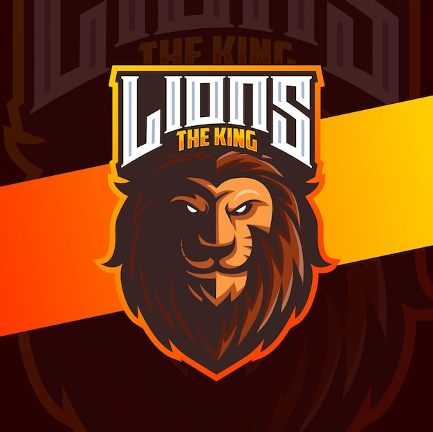Lion mascot esport logo design