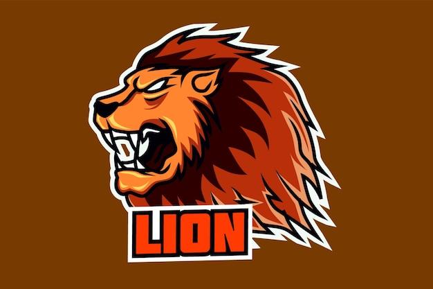 Lion mascot head esport logo team template