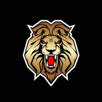 Lion mascot logo design isolated on black