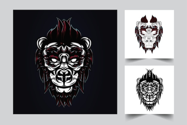 バッジのためのモダンなイラストのコンセプトスタイルとライオンのマスコットのロゴのデザイン