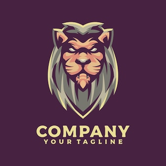 Лев талисман логотип дизайн