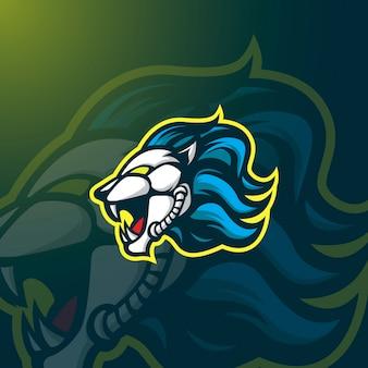 Логотип lion mascot e-sport