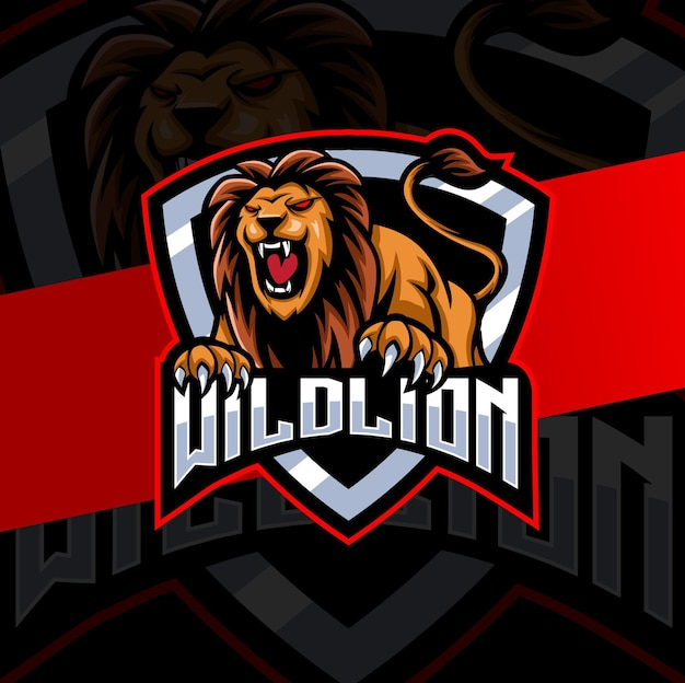 Lion mascot logo esport design for fitness and gaming mascot