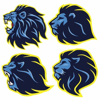 Lion mascot logo set. premium collection. vector illustration design